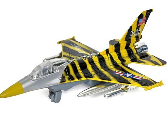 Silver / Red / Yellow Kids Die-Cast F-16C Falcon Fighter Toy