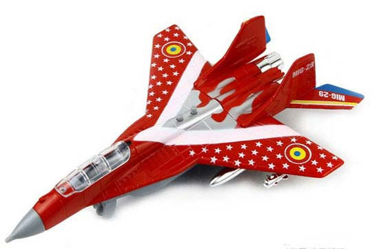 Kids Black / Red / Blue Die-Cast MiG-29 Fighter Aircraft Toy