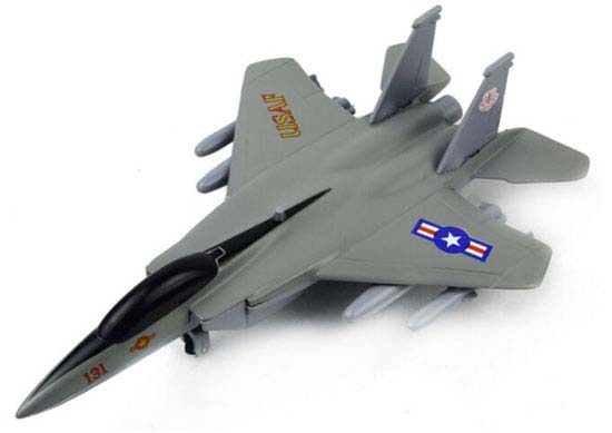 Gray / White / Yellow Kids Die-Cast F-15 Eagle Fighter Toy