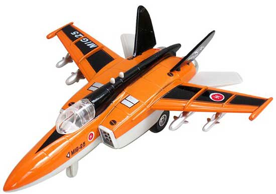 Orange / Blue / Silver Kids Die-Cast MIG-25 Fighter Aircraft Toy