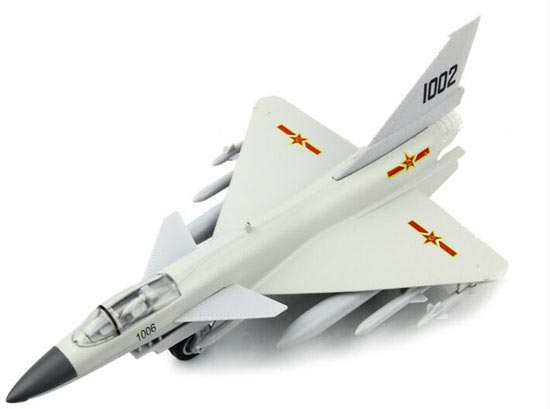 White / Gray / Yellow Kids Die-Cast China J-10 Fighter Toy