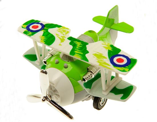 Orange / Red / Blue / Green Kids Die-Cast Biplane Toy