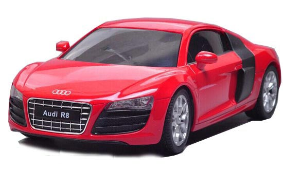 Full Function Kids Red / White 1:24 Scale Welly R/C Audi R8 V10