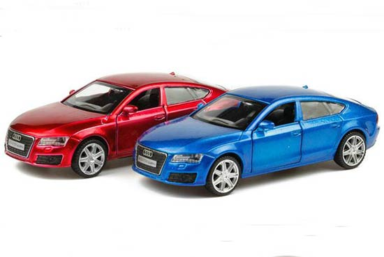 Kids 1:36 Scale Blue / Red Diecast Audi A7 Toy