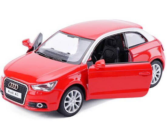 Kids 1:36 Scale White / Red / Blue / Gray Diecast Audi A1 Toy