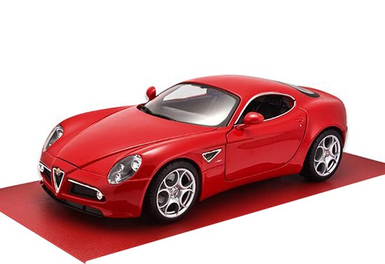 Red 1:18 Scale Bburago Diecast Alfa Romeo 8C Model