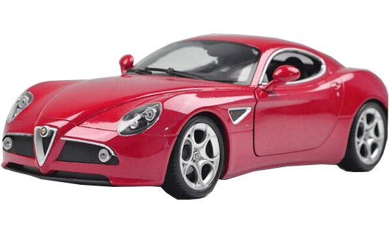 Red / Yellow 1:18 Scale Welly Diecast Alfa Romeo 8C Model