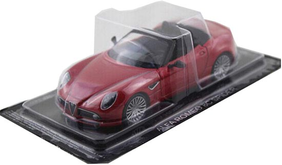 Red 1:43 Scale DEA Diecast Alfa Romeo 8C Spider Model