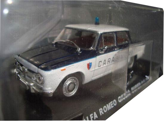 White 1:43 Scale Police Diecast 1969 Alfa Romeo Model