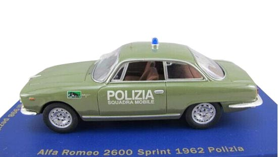 Army Green 1:43 Police Diecast Alfa Romeo 2600 SPRINT 1962 Model