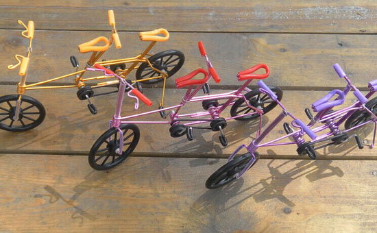 Yellow / Red / Purple Tandem Bicycle Decoration Model