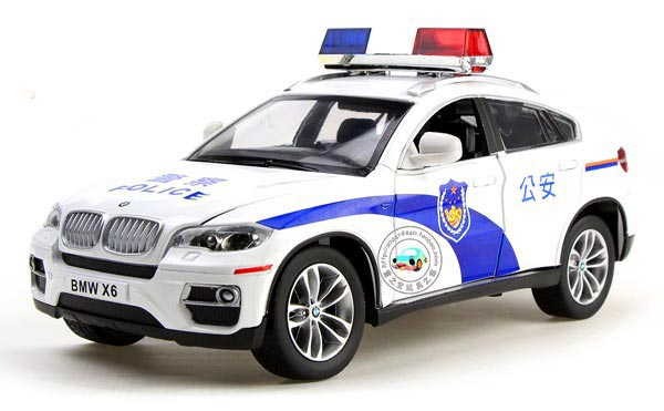 Kids White 1:32 Scale Police Theme Diecast BMW X6 SUV Toy