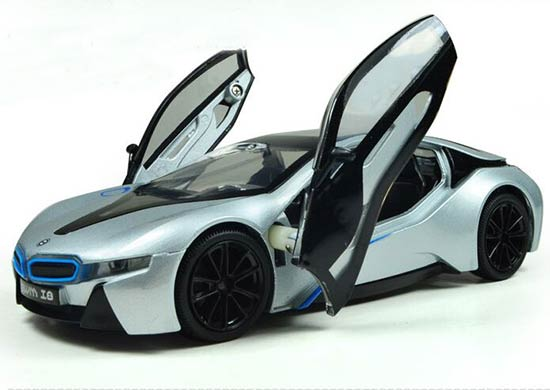 Blue Gray Silver 1 32 Scale Kids Diecast Bmw I8 Toy Bm1t029