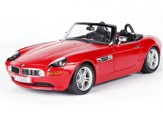 Red 1:18 Scale Bburago Diecast BMW Z8 Roadster Model
