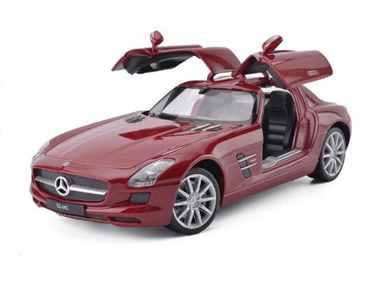 Welly Red / White / Black 1:24 Scale Diecast BENZ SLS AMG Model