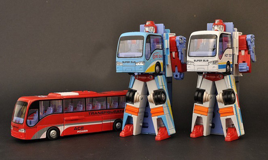 Kids Red / Blue / White Transformers Coach Bus Toy
