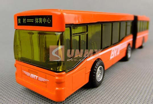 Long Size Kids Orange Toy City Bus with Two Carriages