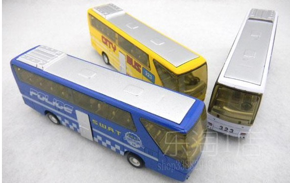 Kids Diecast White / Yellow / Blue Toy City Bus