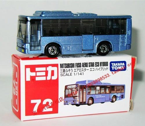 Mini Scale Blue TOMICA Brand NO.72 Toy City Bus Model