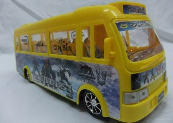 Red / Yellow Kids Plastic Made Transformers City Bus Toy