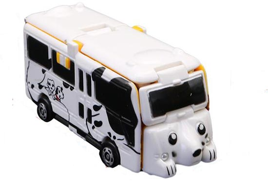 Mini Scale ABS Alterable Yellow To White Kids City Bus Toy