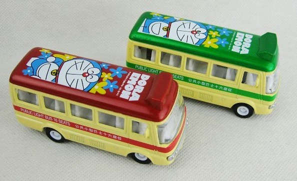 Mini Scale Diecast Red / Green Doaemon Singledecker City Bus Toy