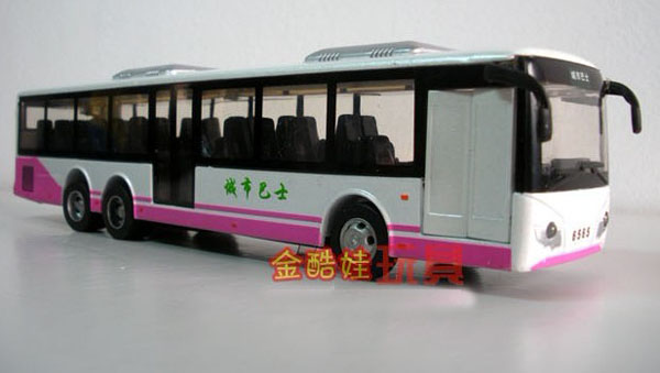 Kids White / Yellow / Gray / Green / Red Diecast City Bus Toy
