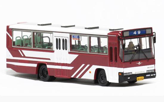 1:76 Scale Wine Red ShangHai NO. 49 Route Bus Model