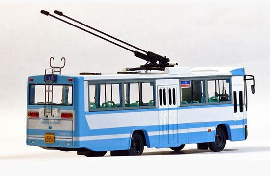 1:76 Scale White-blue ShangHai NO. 15 Route Trolley Bus Model