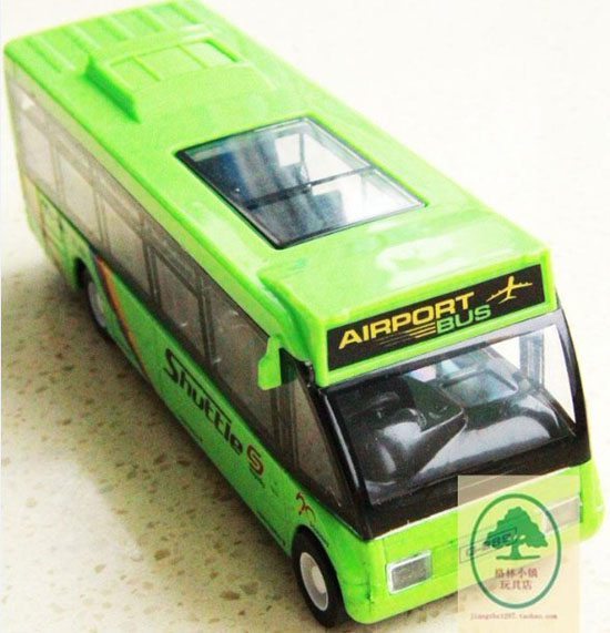 Pull-back Function Green / White Kids Airport Theme Bus Toy