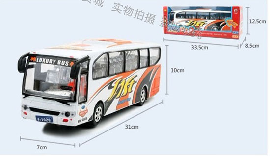 Kids Large Scale White-Orange Plastic Electric Coach Bus Toy