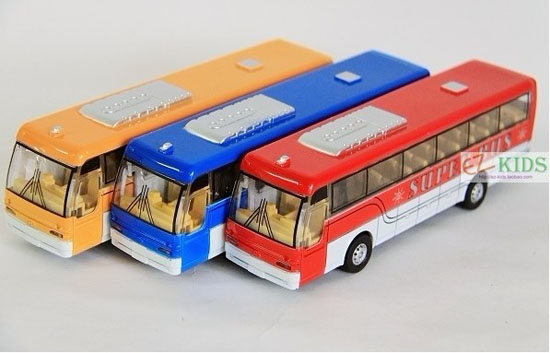 Kids Red / Blue / Yellow Pull-back Function Super City Bus Toy