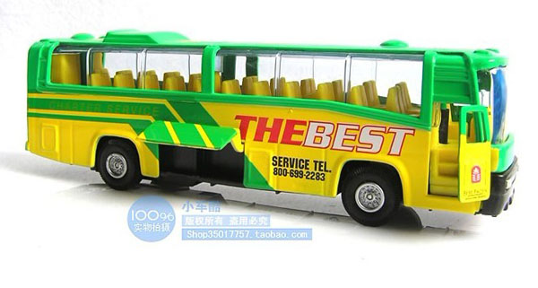 Kids Bright Yellow-Green Pull-Back Function City Bus Toy