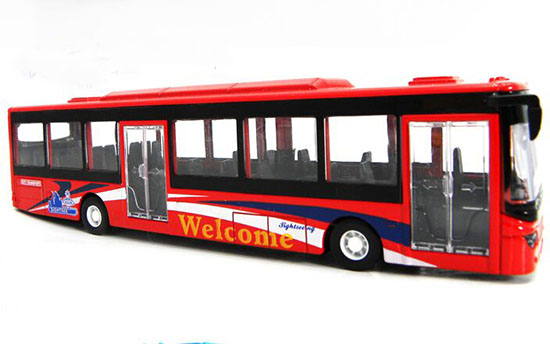 Kids 1:50 Scale Red / Blue Diecast City Bus Toy