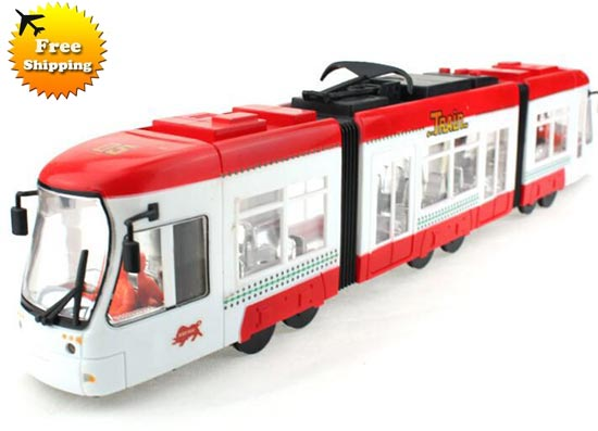 Large Scale Red-White Kids Articulated Electric Trolley Bus Toy