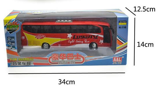1:36 Scale Red / Yellow / Blue / White Kids Electric Tour Bus