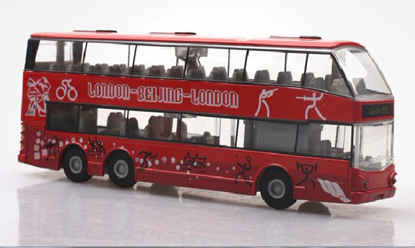 1:32 Scale Red Alloy Double Decker Bus with London Olympic Theme