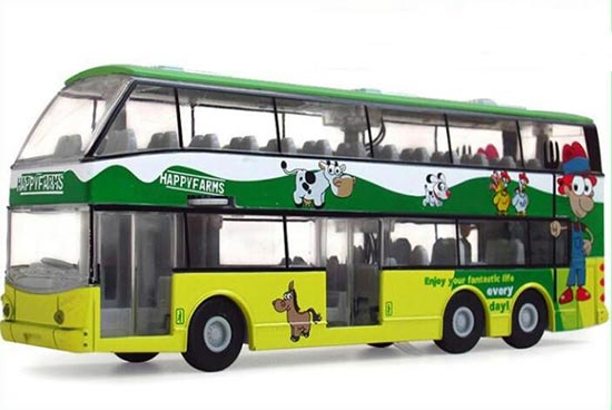 Happy Farms Theme 1:32 Scale Green Alloy Double Decker Bus