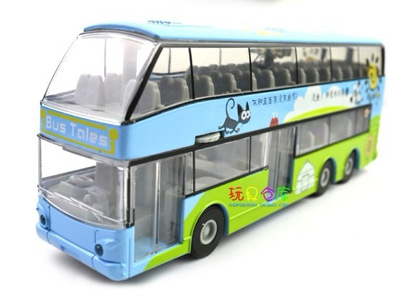 Joyful Spring Outing 1:32 Scale Blue Alloy Double Decker Bus