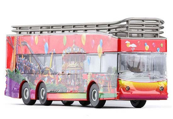 Kids Happy Amusement Park Red Die-cast Double Deceker Bus Toy