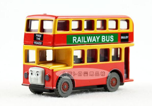 Red Wooden Bulgy Railway Double Decker Bus