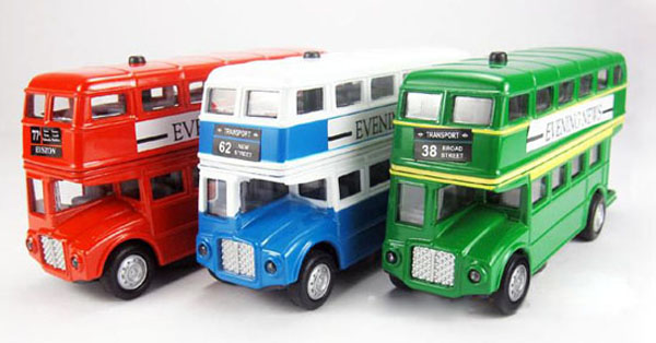 Green / Red / Blue Classical Alloy Double Decker London Bus