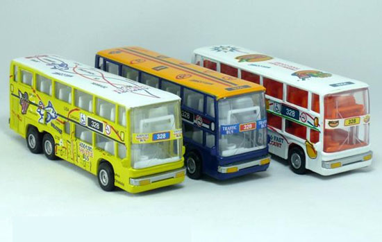 NO. 328 Blue / White / Yellow Alloy Double Decker Tour Bus Model
