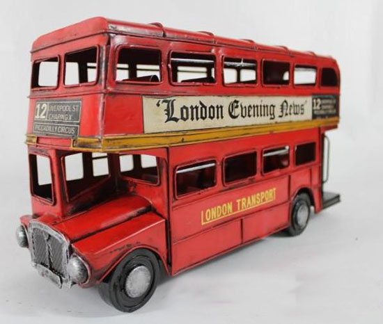 1:12 Scale Red 1905 London Evening News Double Decker Bus