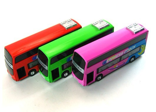 Red / Pink / Green Alloy Double Decker Tour Bus
