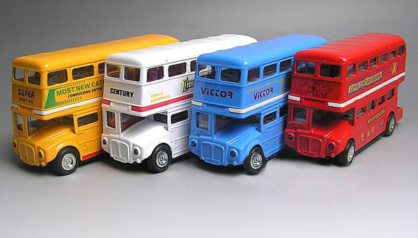Yellow / Red / Blue / White Alloy Kids Double Decker Toys Bus