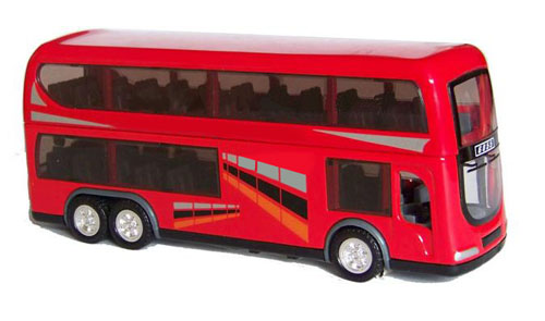 Kids Red / White / Blue Alloy Hong Kong Double Decker Toys Bus