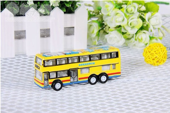 Doraemon Theme Red / Yellow Alloy Double Decker Bus Toys
