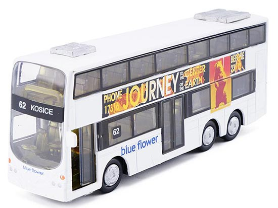 Pull Back Function White Alloy Double Decker Tour Bus Toys