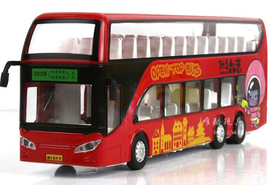 Kids Blue / Red / Yellow Alloy BeiJing Double Decker Bus Toy